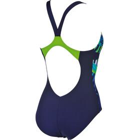 arena Spike One Piece Swimsuit Women navy-leaf